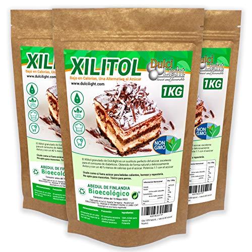 Xilitol 100% Natural Ecologico 3Kg Azucar de Abedul de Finlandia | Ideal para Reposteria y Dietas | Edulcorantes DULCILIGHT el sabor natural del azucar.
