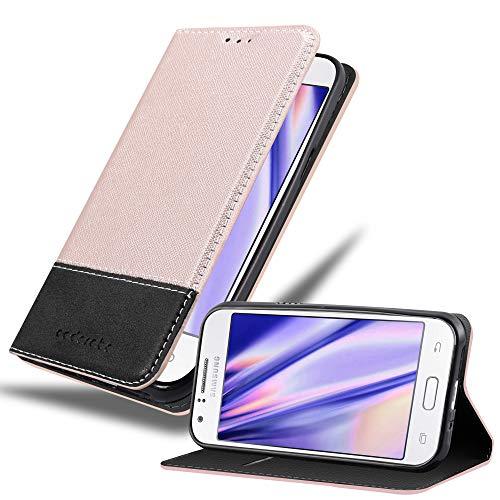 Cadorabo Hülle für Samsung Galaxy J1 2015 in ROSÉ Gold SCHWARZ – Handyhülle mit Magnetverschluss, Standfunktion & Kartenfach – Hülle Cover Schutzhülle Etui Tasche Book Klapp Style