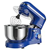 Aucma Stand Mixer,6.5-QT 660W 6-Speed Tilt-Head Food Mixer, Kitchen Electric Mixer with Dough Hook, Wire Whip & Beater (6.5QT, Royal Blue)