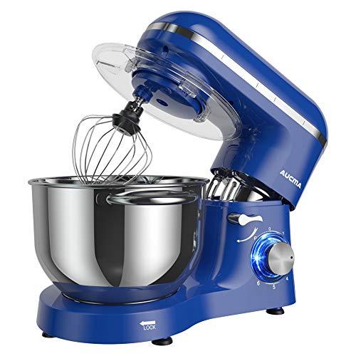 Aucma Stand Mixer,6.5-QT 660W 6-Speed Tilt-Head Food Mixer, Kitchen Electric Mixer with Dough Hook, Wire Whip & Beater (6.5QT, Royal Blue)