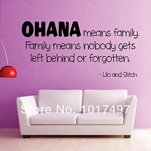 Inscription OHANA MEANS FAMILY Lilo et Stitch movie kids sticker mural en vinyle autocollant de m2035