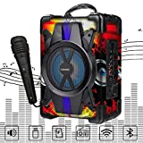 LiyuanQ Portable Wireless Bluetooth Speakers with Microphone, Subwoofer Heavy Bass Wireless Outdoor Indoor Party Speakers MP3 Player Powerful Speaker Support FM Radio, Audio Recording, TF Card/USB