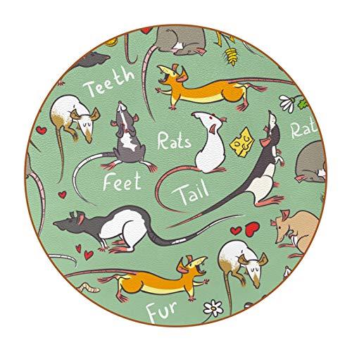 Paquete de 6 posavasos redondos de cuero de fibra estupenda para bebidas, copas de vino, tazas de tazas, lindos dibujos animados ratas verde ratón patrón de dientes