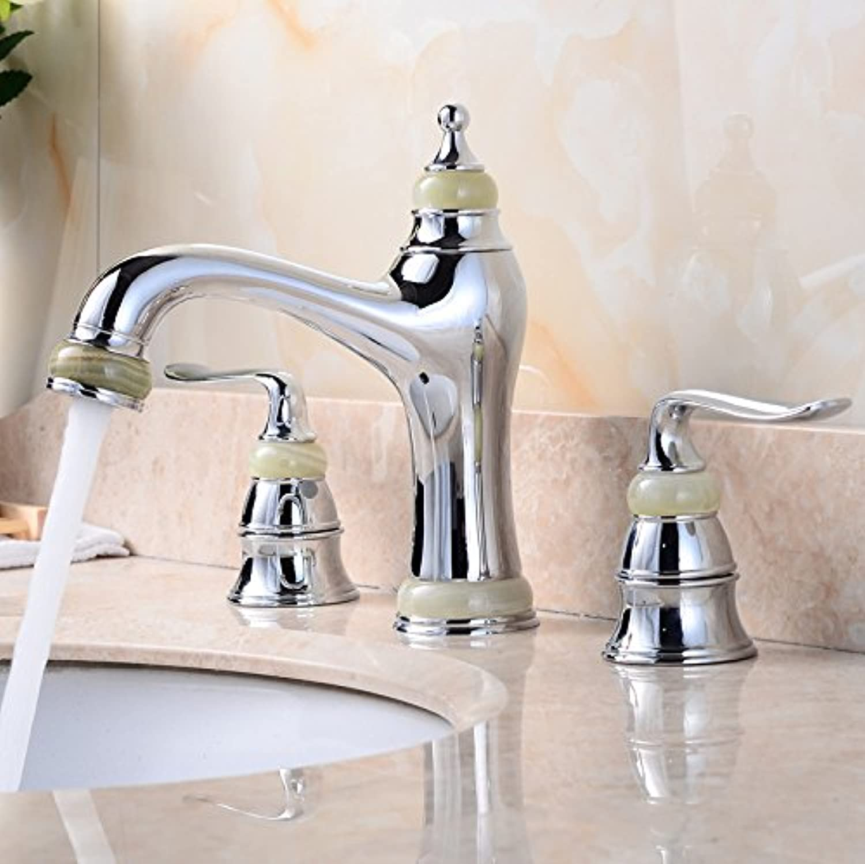 Gyps Faucet Basin Mixer Tap Waterfall Faucet Antique Bathroom Mixer Bar Mixer Shower Set Tap antique bathroom faucet The Jade gold double the hot and cold pink gold basin A,Modern Bath Mixer Tap Bat