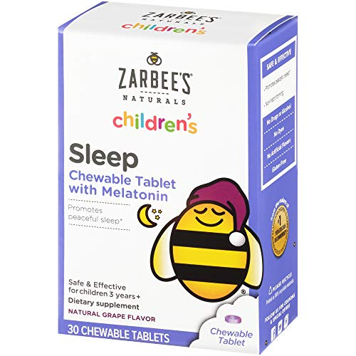 Zarbee's Naturals Children's Sleep with Melatonin Supplement, Natural Grape Flavor, Multi-Colored, Grape Chewable Tablets, 30 Count (Pack of 1)