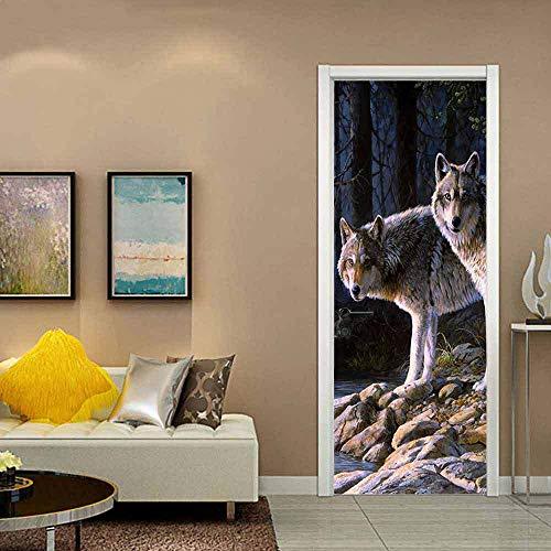 Creativo Protezione Ambientale 3D Wolf Pack Adesivi per Porte Ristrutturazione Adesivi Murali Camera da Letto Autoadesivi