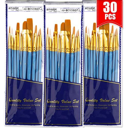 BOSOBO Paint Brushes Set, 30 Pcs Round-Pointed Tip Artist Paintbrushes for Acrylic Watercolor Oil Painting, Face Body Nail Art, Fine Detail, Miniature Model, Rock and Craft, Kids & Adults Art Supplies