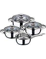 San Ignacio Batería de cocina 7 piezas Cazo sin tapa Ø16 (1.5L) / Cacerola Ø16 (1.5L) Cacerola Ø18 (2.0L) Cacerola Ø20 (3.0L), acero inoxidable, inducción