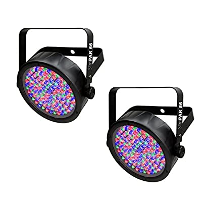 (2) Chauvet DJ SlimPar 56 LED DMX Slim Par Can Stage Pro RGB Lighting Effects by Chauvet