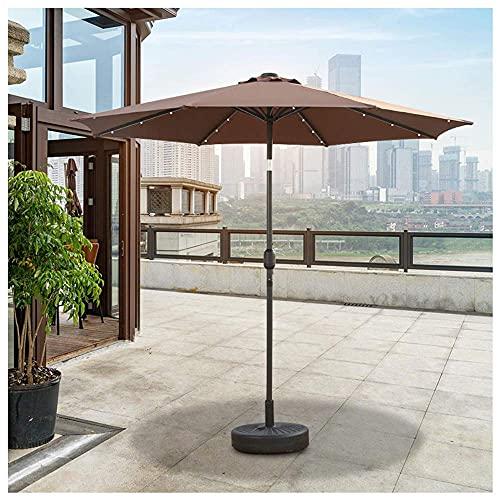 LLLKKK Paraguas para exteriores de 270 cm, con luces LED, manivela y panel de almacenamiento solar, inclinado, sin base