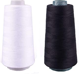 TXIN 2 Pieces Polyester Sew Quilting Thread Sewing Threads for Sewing Machine Upholstery Handcraft, Black & White