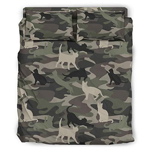 WellWellWell Juego de cama de 4 piezas, diseño de gato verde camuflaje,...