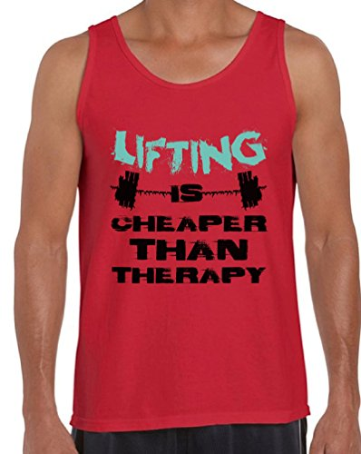 Awkward Styles Men's Lifting is Cheaper Than Therapy Tank Tops Motivational Workout Red XL