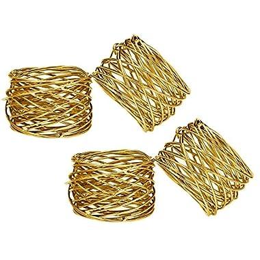 SKAVIJ Handmade Gold Napkin Rings Set of 4 Round Mesh for Weddings Dinner Parties or Every Day Use