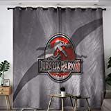 Elliot Dorothy Jurassic Park Dinosaurs Movie Poster Noise Reduction Curtains Kids Decor Patterned Curtains Room Darkening Wide Curtains for Windows Decoration W55 x L45