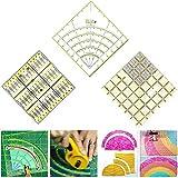 SxLingerie Quiltlineale 3Er-Pack Kreisschneider Lineal Quadratische Bögen Fächerkreis Acryl-Nählineal Mit Zweifarbigen Linien Zum Quilten Nähen Basteln Einfaches Schneiden