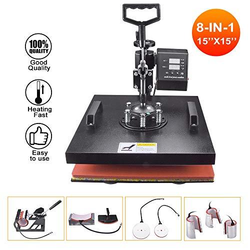 Seeutek Heat Press 15x15 inch Heat Press 8 in 1 Machine 360-Degree Swing Away Digital Multifunction...