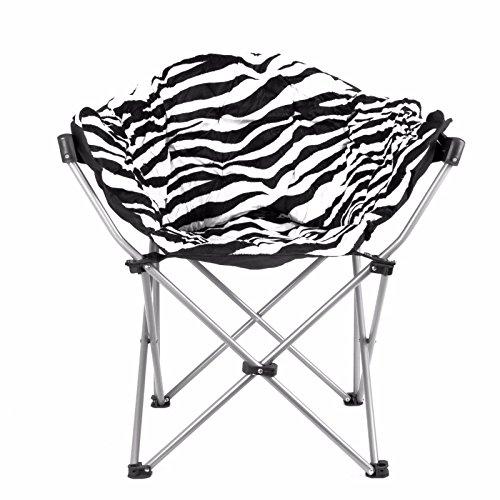 ESTEXO-Home&Garden Campingstuhl XXL 110 kg Klappstuhl Anglerstuhl Faltstuhl Regiestuhl gepolstert (Zebra- Design)
