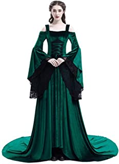 TBATM Women Medieval Lace Dress, Renaissance Off-Shoulder Temperament Dress Long Sleeve Irregular Slim Palace Royal Court Princess Stage Costume,Green,L
