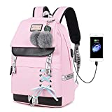 Lmeison Waterproof Backpack for Teen Girls, Women College Bookbag with USB Charging Port, Fashion...