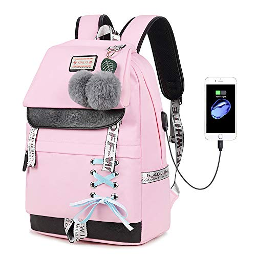 Lmeison Waterproof Backpack for Teen Girls, Women College Bookbag with USB Charging Port, Fashion Travel Daypack 15.4inch Laptop Bag for School, Pink