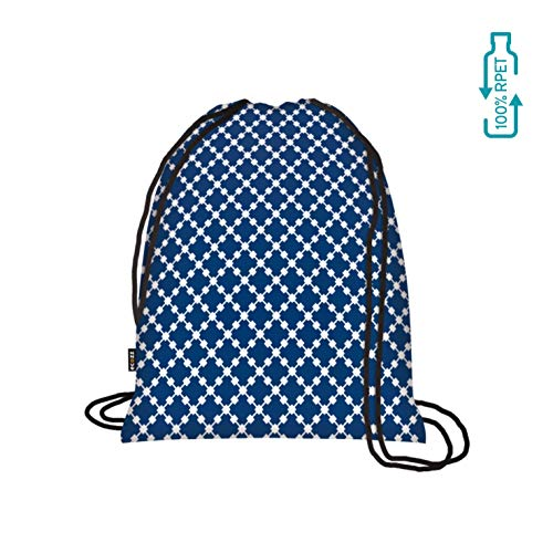 Ecozz Backpack Squares Blue Opvouwbare rugzak van 100% RPET (gerecyclede PET-flessen)-milieuvriendelijk opvouwbaar turntas sporttas gymtas