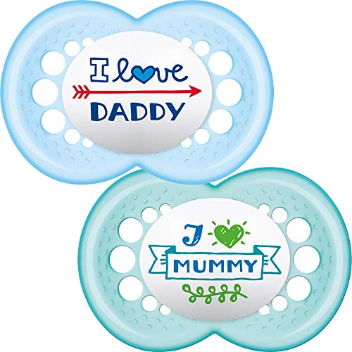 "MAM 25728 Schnuller""I Love Mummy/I Love Daddy"" 6+ Monate blau"