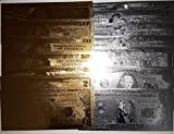 GOLD AND SILVER BANKNOTE SET (14 Count) GOLD AND SILVER FOIL BANKNOTE $1-$100 Denomination of both Silver and Gold 22k Foil Money Collectors Dream Very Fascinating and Creative