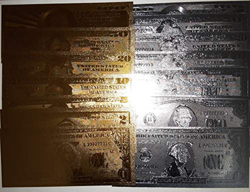 GOLD AND SILVER BANKNOTE SET (14 Count) GOLD AND SILVER FOIL BANKNOTE $1-$100 Denomination of both Silver and Gold Foil Money Collectors Dream Very Fascinating and Creative