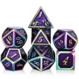 Purple Metal Dice Set D&D, DNDND 7 Die Enamel Polyhedral DND Dice Set with Metal Tin for Dungeons and Dragons and Role Playing Game