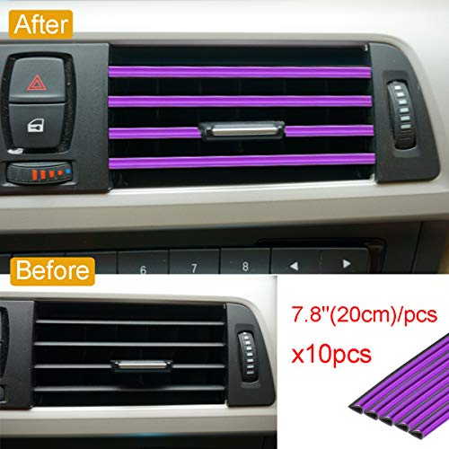 Royalfox 10pc Chrome PVC Car Air Conditioner Vent Outlet Trim Decoration Strip for Dodge,Jeep,Chrysler,BMW,Mercedes-Benz,Chevrolet,Buick,Volvo,Ford,Cadillac,Car Shiny Accessories for Women (Purple)