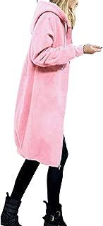 Womens Zip up Hoodies Long Fleece Tunic Sweatshirts Jackets Fashion Plus Velvet Cardigan Sweaters with Pockets