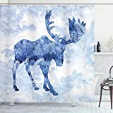 ABAKUHAUS Elch Duschvorhang, Blauer Winter Antlers Baum, Waserdichter Stoff mit 12 Haken Set Dekorativer Farbfest Bakterie Resistet, 175 x 180 cm, Blau Weiß