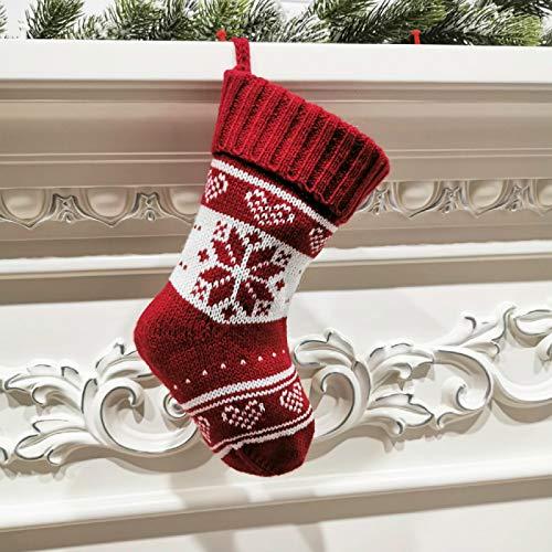 langchao Adorno de calcetín navideño 2020, calcetín de Navidad para Tejer, Adorno de Hilo, Bolsa de Regalo, calcetín navideño de Dulces de 9 Pulgadas