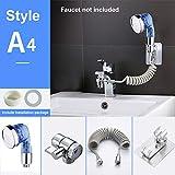 XHXseller - Set di miscelatore a spruzzo, miscelatore a mano, regolabile, due prese per casa, bagno, lavanderia, Non null, Come da immagine, a4 blue third gear outlet set
