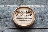Cuscino fedi matrimonio Cuscino anelli matrimonio Portafedi Anello Portatore Personalizzato Nomi e Data Matrimonio rustico elegante decorazioni Cuscino per anello' Infinito','Infinity'