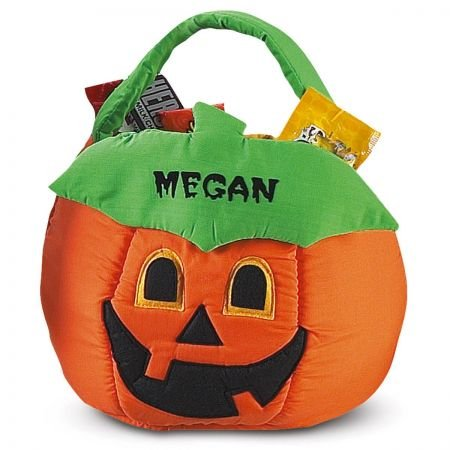 """Lillian Vernon Pumpkin Personalized Halloween Treat Bag – Large Trick or Treat Tote & Candy Basket for Kids, Polyester, 10.5"""" Diameter (at widest) X 10.5"""" Tall"""