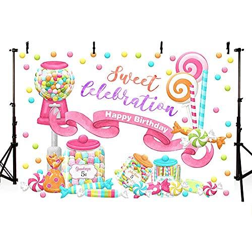 lovedomi 10x7ft Acuarela Dibujos Animados Tienda Dulces Dulces Tarro Caramelo Rosa Lollipop Girl Feliz fotografía Fondo Cabina Estudio fotográfico Vacaciones Familiares Fiesta Estudio Material Vinilo