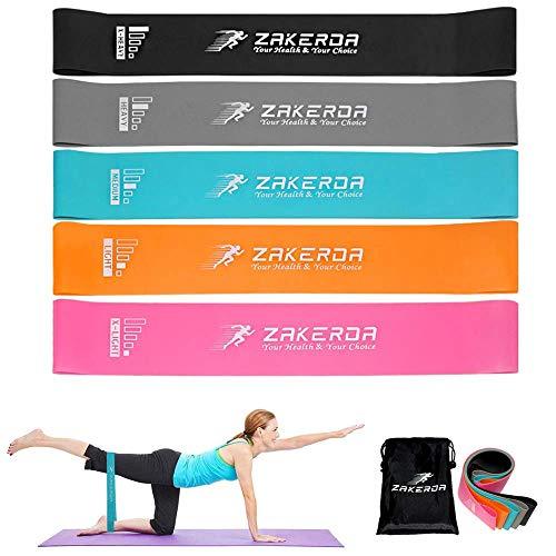 FiiMoo Bande Élastiques de Résistance, [Lot de 5] Bande de Fitness Multi Niveaux de Force, Latex Naturel Bande pour Rééducation Exercices/Musculation/Pilates/Yoga/Gym à Domicile et Plus