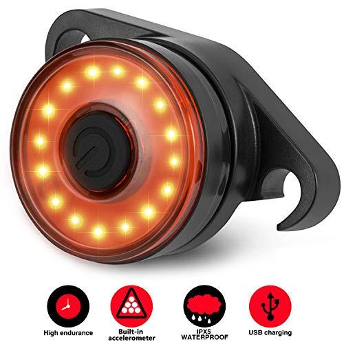 Luce Posteriore Led Bici Intelligente, SEWOBYE Luce Bici Ricaricabile USB Ultra Luminosi, Luci Bici Impermeabile fanale posteriore Bici di Mountain