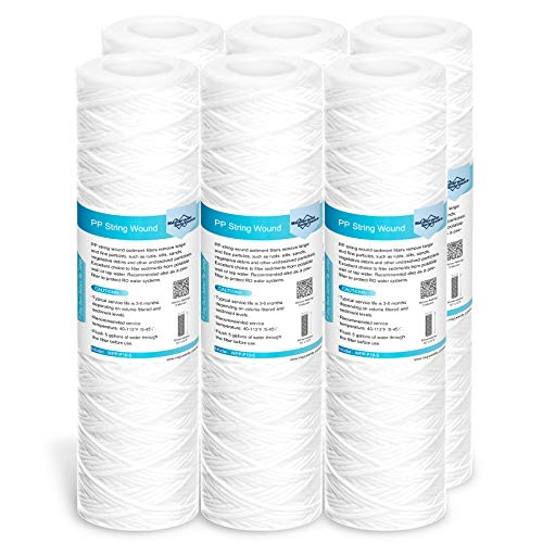 Membrane Solutions 5 Micron String Wound Water Filter Universal Whole House Replacement Cartridge Sediment Filters for Well Water 10'x2.5' - 6 Pack
