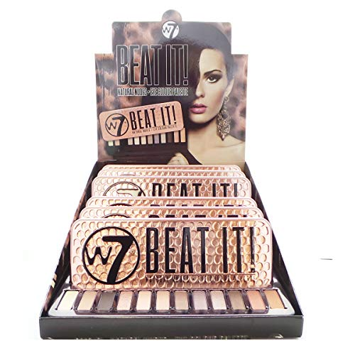 W7 BEAT IT Natural Nudes Eye Colour Palette Display Set, 6 Pieces plus Display Tester
