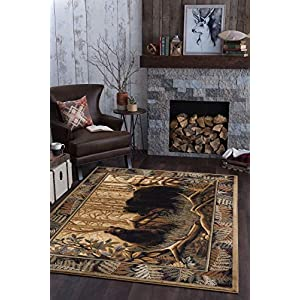 Fern Bear Beige 5×8 Rectangle Area Rug Cabin for Living, Bedroom, or Dining Room – Lodge, Novelty Farmhouse Style Bear Figure Carpet