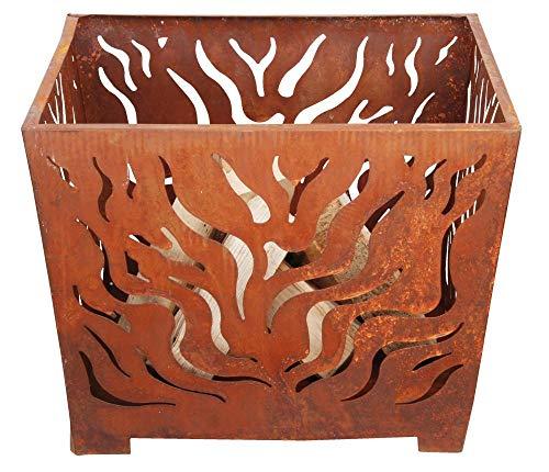 Esschert Design Feuerkorb, Feuerstelle, in rost, quadratisch, Größe M, ca. 60 cm x 60 cm x 45 cm