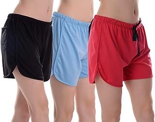 Elabana Women's Cotton Shorts Combo Pack of 3 (Black, Pink & Sky Blue)