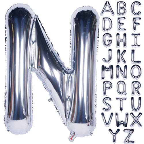 Letter Balloons 40 Inch Giant Jumbo Helium Foil Mylar for Party Decorations Silver N