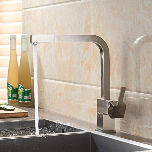 YZDD Llave extraíble Llave de fregadero Mezclador de lavabo cuadrado de latón Mezclador de grifo de agua fría y caliente Montaje en cubierta