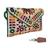 Aaditri International Women's Rajasthani Jaipuri Art Satchel Bag(Green_Aaditri International)