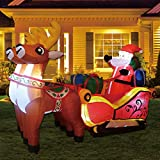 GOOSH 7 ft Christmas Inflatable Santa Reindeer Sled Outdoor Decoration LED Lights - Cute Fun Xmas Blow Up Yard Lawn Decorations