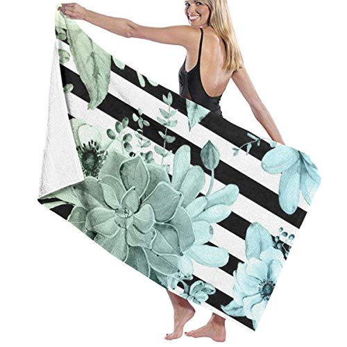 Yaxinduobao Succulents In The Garden Teal Blue Green Gradient with Black Stripes Soft Toalla de baño Highly Absorbent Multipurpose Towels Oversized Toalla de Playa for Travel Bathroom Hotel Gym SPA